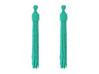Kenneth Jay Lane Turquoise Seed Bead Tassel Post Ear Earrings Earring