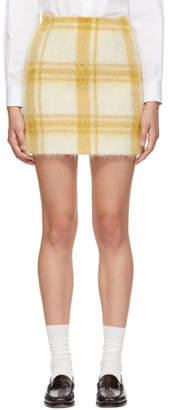 ALEXACHUNG Yellow and White Mohair Check Miniskirt