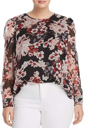 Vince Camuto Plus Timeless Blooms Puff-Shoulder Top