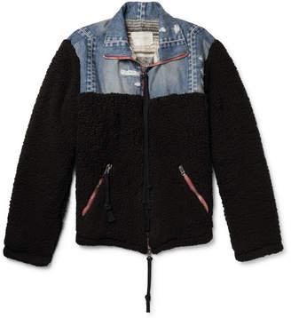 Greg Lauren Panelled Distressed Denim And Fleece Jacket