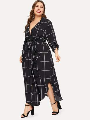 Shein Plus Notch Collar Curved Hem Wrap Grid Dress