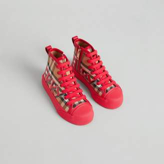Burberry Childrens Graffiti Vintage Check High-top Sneakers