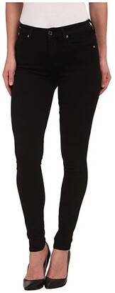 7 For All Mankind The Highwaist Skinny w/ Contour Waistband in Slim Illusion Luxe Black