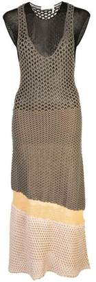 Chloé Round Neck Crotchet Knit Midi Dress