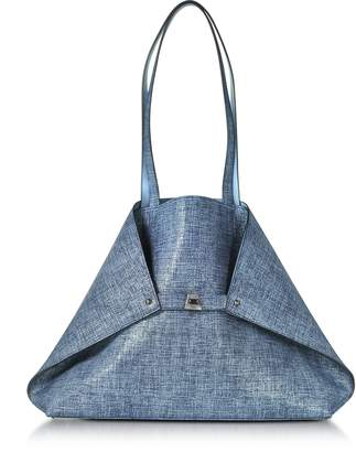 Akris Dark Denim Printed Nubuck and Pale Sky Softcalf Ai Medium Reversible Bag