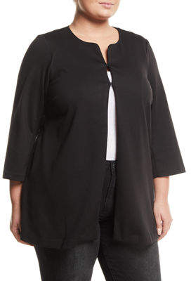 Joan Vass Plus 3/4-Sleeve Crewneck Ponte Topper, Plus Size