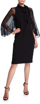 Rickie Freeman For Teri Jon Tie-Neck Sheer-Sleeve Crepe Shift Dress