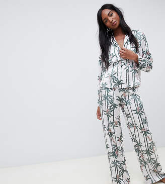 Asos Tall DESIGN Tall monkey print double breasted shirt and PANTS pyjama set