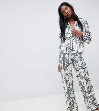 Asos Tall DESIGN Tall monkey print double breasted shirt and PANTS pyjama set