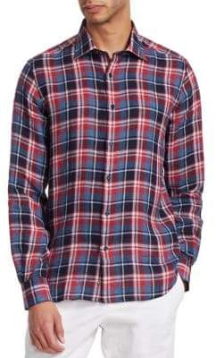Saks Fifth Avenue COLLECTION Plaid Linen Shirt
