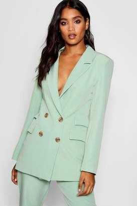boohoo Leah Double Pockets Double Breasted Blazer