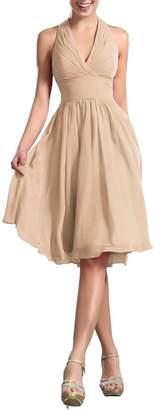 CaliaDress Women Elegant Halter Neck Bridesmaid Dress Formal Prom Gowns Short C200LF US