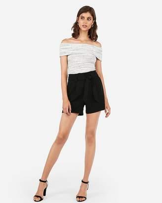 Express Mid Rise Paperbag Dress Shorts