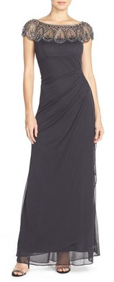 Women's Xscape Embellished Illusion Ruched Jersey Gown $208 thestylecure.com