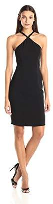 Carmen Marc Valvo Women's Beaded V Choker Neck Short Crepe Dress