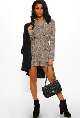 95899c0b92a Pink Boutique Promise Me This Natural Animal Print Long Sleeve Playsuit