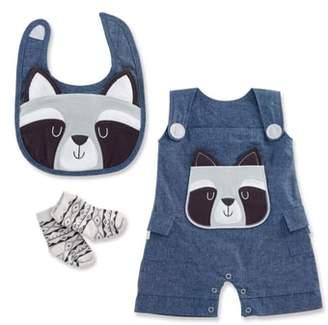 Baby Aspen Forest Friends Raccoon Romper, Bib & Socks Set
