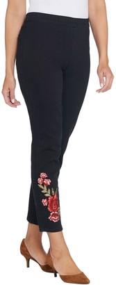 Susan Graver Petite High Stretch Black Denim Slim-Leg Jeans