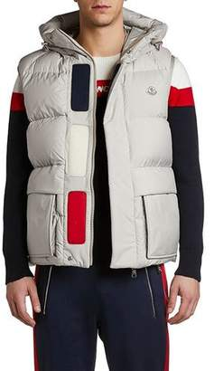 Moncler Men's Lafage Flag Hooded Puffer Vest