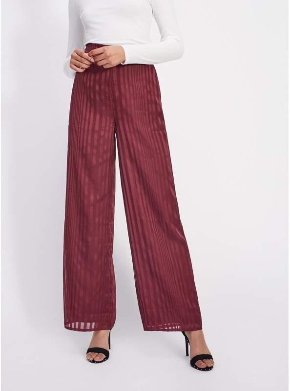 Burgundy Stripe Wide Leg Trousers