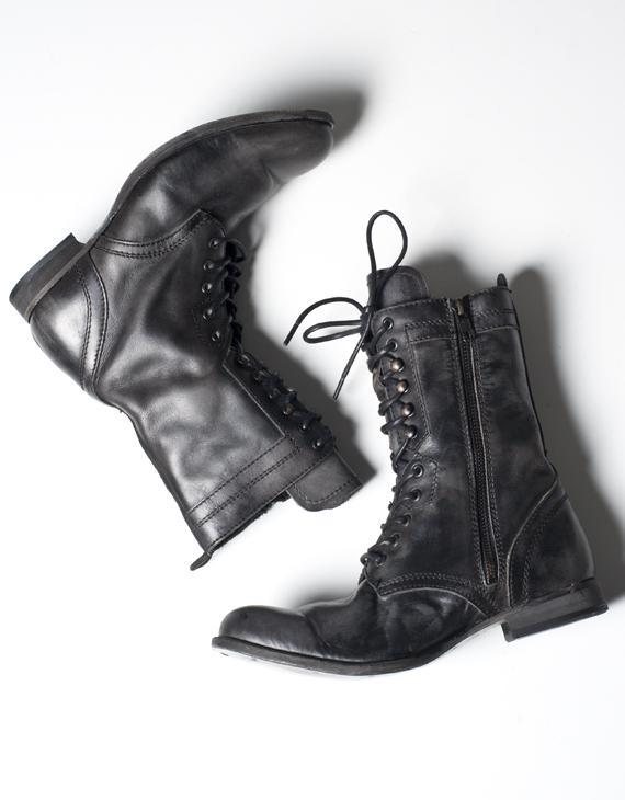 H By Hudson Black Lang Lace Up Boot