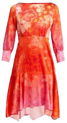 Peter Pilotto Floral Print Silk Blend Dress - Womens - Red Multi