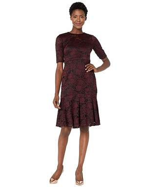 Maggy London Two-Tone Rose Stretch Fit and Flare Cocktail Dress