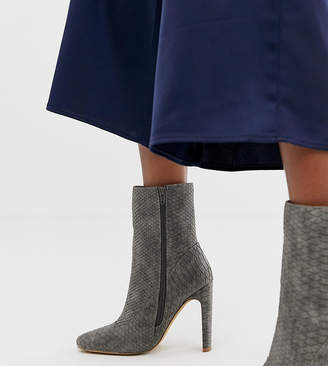 8cdd56098980 Missguided square toe high heeled ankle boot in grey snake