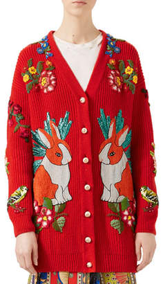 Gucci Oversize Embroidered Wool Cardigan, Red
