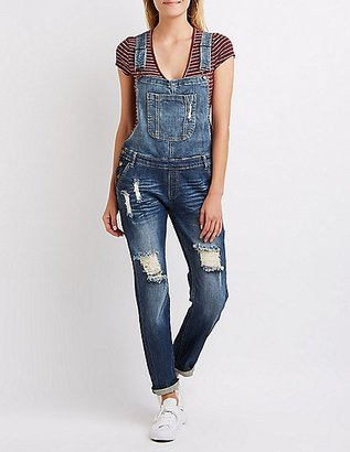 Machine Jeans Destroyed Denim Overalls $39.99 thestylecure.com