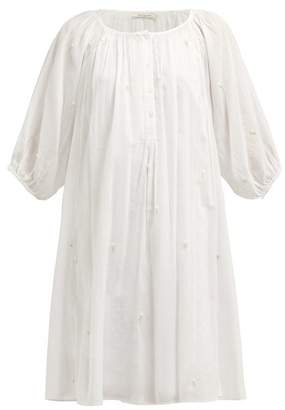 Mes Demoiselles Begonia Floral Embroidered Cotton Dress - Womens - Ivory