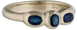 Me & Ro Me&Ro 18K Three-Stone Blue Sapphire Ring