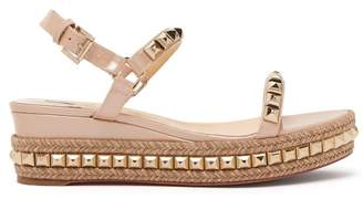 Christian Louboutin Cataclou 60 Leather Flatform Espadrille Sandals - Womens - Nude Gold