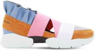 Emilio Pucci 30mm City Mesh & Suede Sneakers W/Ruffle
