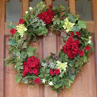 Belmont Silk Decorative Front Door Wreath 24 Inch - Year Round Beautiful Silk Wreath Transforms Front Door Decor