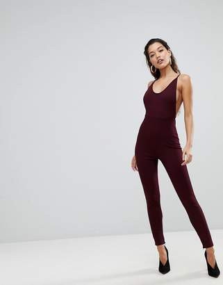 Parallel Lines Bodycon Jumpsuit With Scoop Back