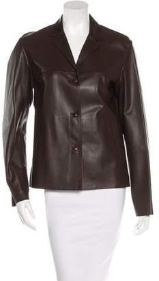 Prada Leather Notch-Lapel Blazer
