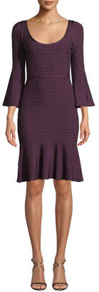 Herve Leger Scoop-Neck Flutter-Sleeve Body-Con Metallic-Jacquard Cocktail Dress