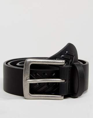 Asos Wide Belt In Black Faux Leather With Braid Detail