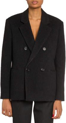 Saint Laurent Striped Double-Breasted Blazer Jacket