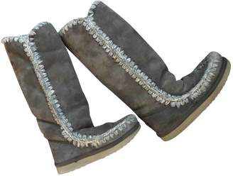Mou Grey Suede Boots