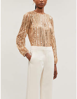 Max Mara Girl sequin-embellished tulle blouse