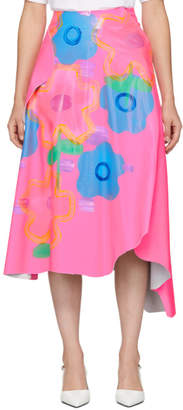Christopher Kane Pink Leather Jumbo Floral Skirt