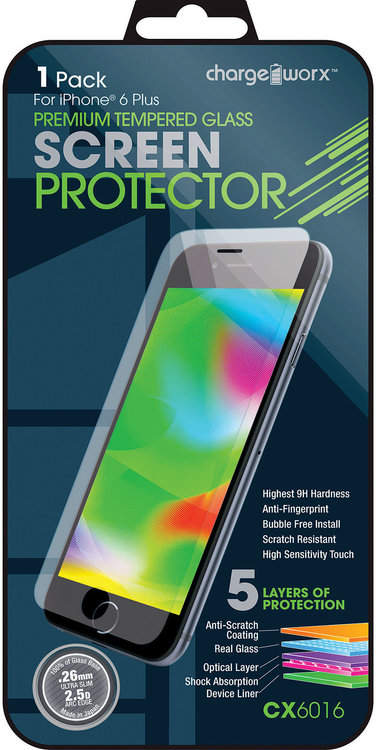 chargeworx 1-Pack iPhone 6 Plus Tempered Glass Screen Protector