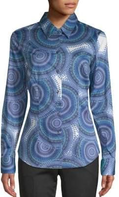 Robert Graham Brigette Stretch-Cotton Button-Down Shirt