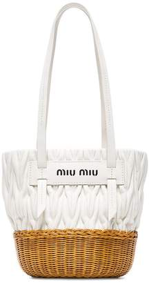 Miu Miu White leather and wicker bucket bag