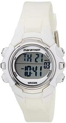 Timex Marathon Unisex T5K806 Watch with LCD Dial Digital Display and White Resin Strap