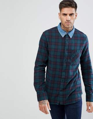 New Look Check Shirt With Denim Collar In Green