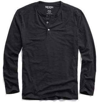 Todd Snyder Made in L.A. Long Sleeve Henley in Black