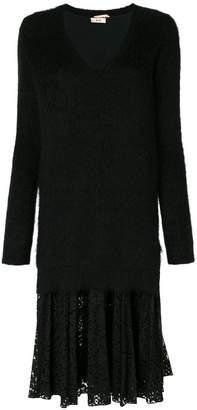 No.21 lace-panelled knit dress
